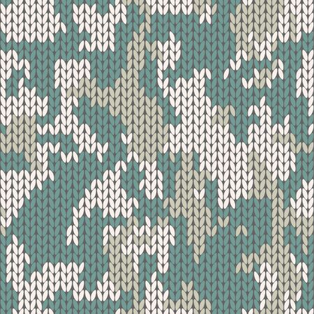 Knitting melange camo texture. Winter camouflage sweater. Knit background seamless pattern. Vector
