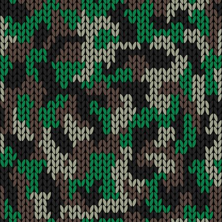 Stylish knitted military camo. Green wool camouflage pattern. Seamless texture. Design for fabric printing. Vector background
