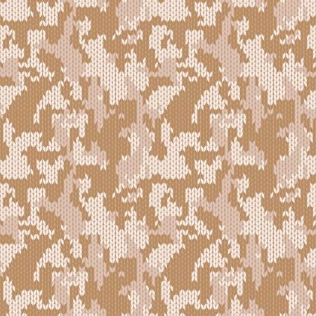Stylish knitted military camo. Brown wool camouflage pattern. Seamless texture. Design for fabric printing. Vector background