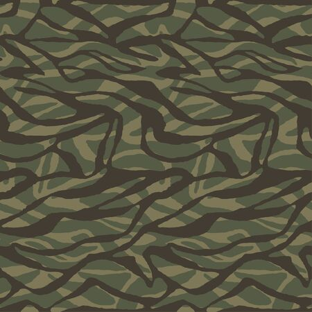 Stylish zebra camouflage fabric for printing. Stripes abstract seamless camo pattern. Vector decorative wallpaper Imagens - 144761806