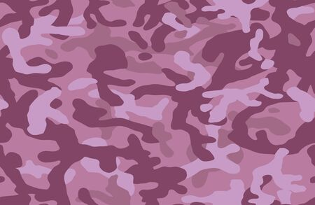 Fashionable camouflage pattern. Military fabric design. Seamless background, masking clothing, camo repeat print. Pink purple color. Vector wallpaper.