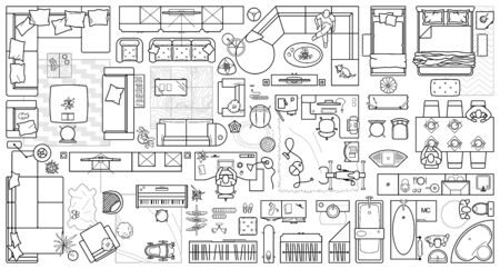 Floor plan icons set for design interior and architectural project (view from above). Furniture thin line icon in top view for layout. Blueprint apartment. Vector Vettoriali