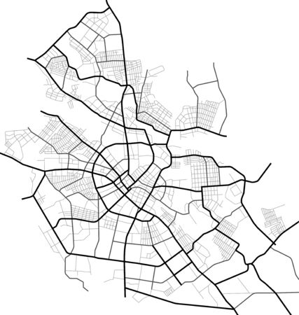 Ivanovo city map - town streets on the plan. Map of the scheme of road. Urban environment, architectural background. Vector