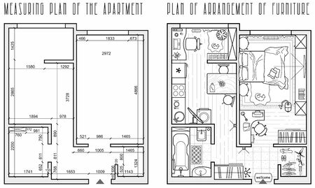 Architectural measuring plan of apartment and floor plan of arrangement of furniture (view from above). Vector interior house in top view. Vector blueprint