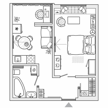 Architectural plan of studio apartment with kitchen and bedroom. Small house top view. Floor plan with furniture placement. The interior design project. Vector.