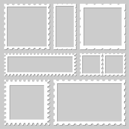 Blank rectangle and square postage stamps, with a shadow isolated on gray background. Empty template paper mark symbol of delivery correspondence. Vector frame border