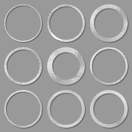 Metal circles frames set with shadows isolated on white background. Pack of silver luxury round borders. Vector illustration Imagens - 144761824