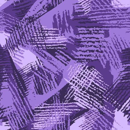 Hatch camouflage, modern fashion design. Hand drawn violet camo with pencil strokes. Grunge pattern. Purple background, fashionable fabric. Textile printing. Vector seamless abstract texture.