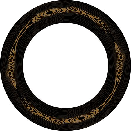 Round black wood frame. Tree circular grain texture. Dense lines pattern. Border for the mirror. Vector background