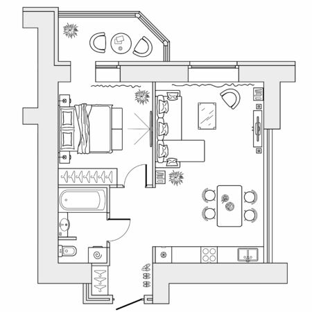 Aménagement de l'appartement avec rangement mobilier. Dessin architectural de la maison (vue de dessus). Plan d'étage de design d'intérieur d'en haut. Disposition vectorielle