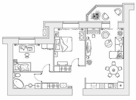 Planificación del apartamento con mobiliario de arreglo. Dibujo arquitectónico de la casa (vista superior). Plano de planta de diseño de interiores desde arriba. Diseño vectorial Ilustración de vector