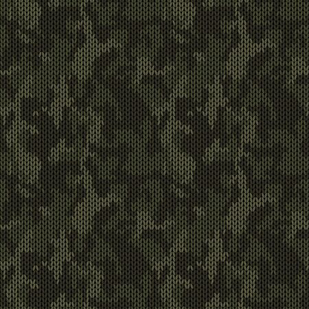 Stylish knitted military camo. Dark green khaki wool camouflage pattern. Seamless texture. Design for fabric printing. Vector background