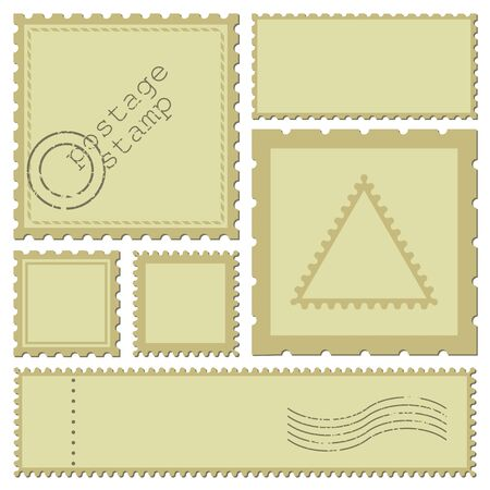 Blank rectangle and square postage stamps, with a shadow isolated on white background. Empty template paper mark symbol of delivery correspondence. Vector frame border