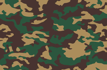 Camouflage pattern background, camo seamless vector illustration. Classic military clothing style.