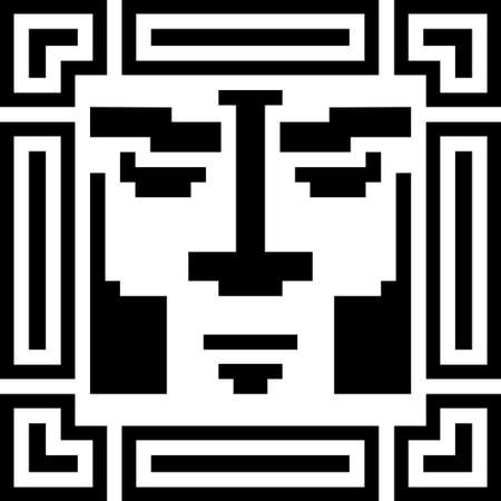Digital pixel cyber avatar icon. Computer technology, security, hacking. Black and white face person. 8-bit abstract symbol design illustration.