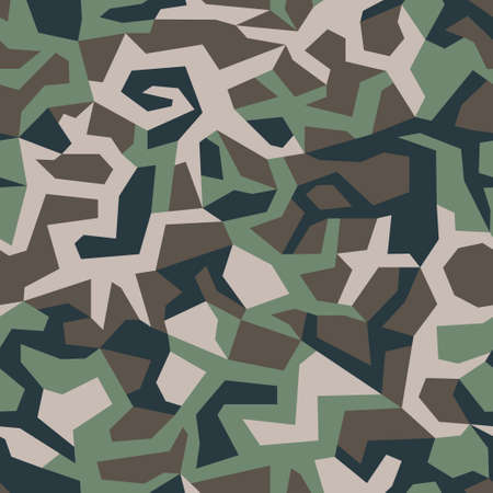 Geometric camouflage pattern. Repeating green military camo, seamless texture background. Abstract modern fabric textile ornament. Vector illustration.