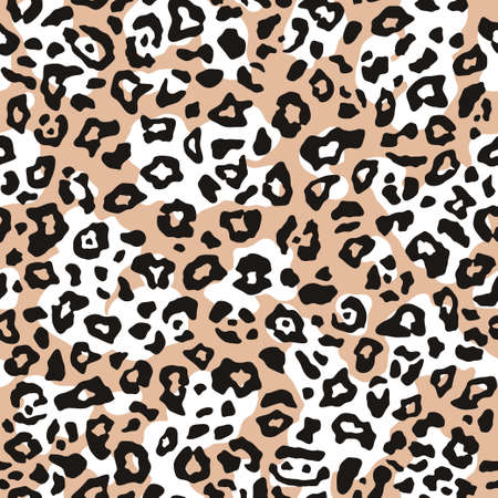 Leopard print, seamless pattern. Skin of cheetah, leopard. Fashionable fabric, elegant animal background. Exotic wild animal spots.