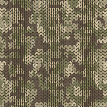 Military decorative knitted camouflage with high detail made fabric texture. Vector khaki green camo seamless pattern.