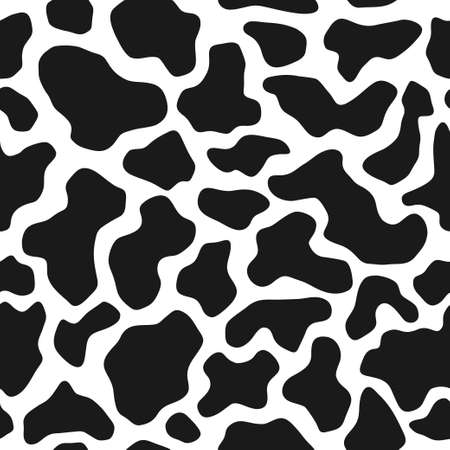 Cow skin texture, black and white spot repeated seamless pattern. Animal print dalmatian dog stains.