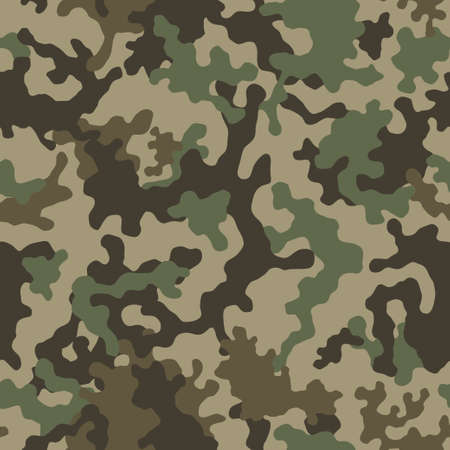 Camouflage pattern background seamless illustration. Classic clothing style masking camo repeat print. Green brown black olive colors forest texture. Vectores