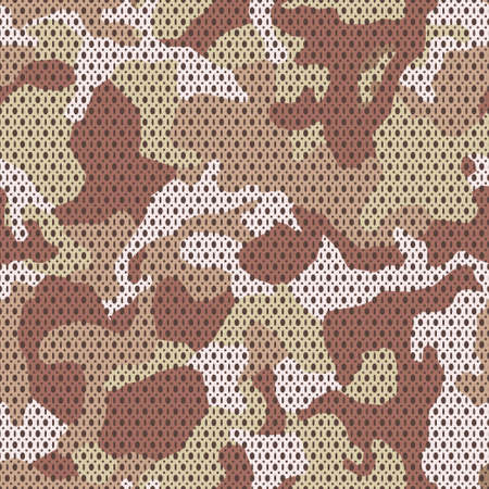 Military camouflage woven fabric, seamless texture. Camo pattern for army clothing. Sand brown 4 Colors background. Vectores