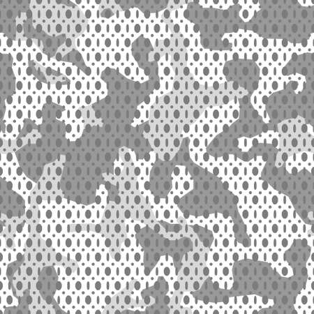 Vector white monochrome camouflage seamless mesh pattern. Camo design for t-shirt. Military fabric texture with holes. Army clothing