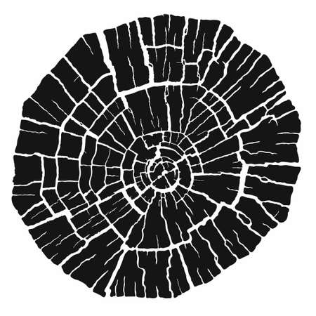 Black and white stamp of wood texture of tree rings from a slice of log.