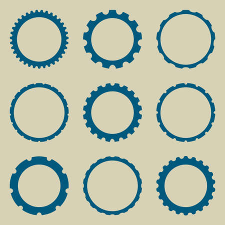 Bottle cap or silhouetted of machine gear, abstract icon. Round postal stamps or Car wheel icon. Vectores