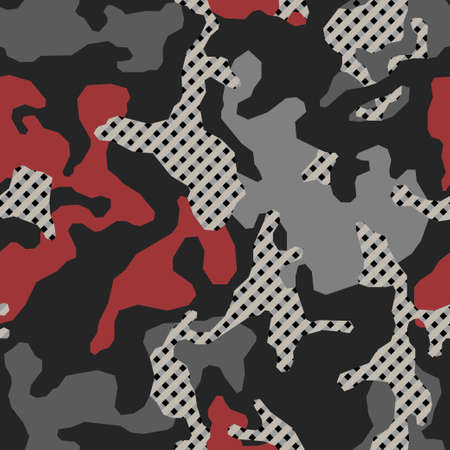 Stylish camouflage seamless pattern. Abstract modern military camo. Urban texture. Black, gray and red color background. Vectores