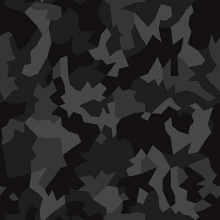 Camouflage pattern background, seamless vector illustration. Classic clothing style masking dark camo, repeat print. Gray and black texture Vectores