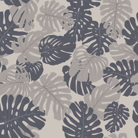 Seamless tropical vector pattern with tropical plants. Exotic background with monstera leaves. Fashion jungle print for design.