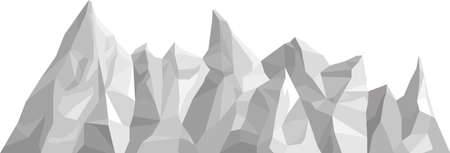 Monochrome mountains in low poly style. Polygonal mountain ridges. Vector landscape background