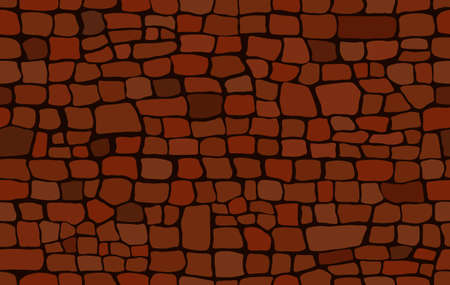 Brickwork - seamless texture. Decorative old wall of red brown orange bricks. Vector cartoon background.