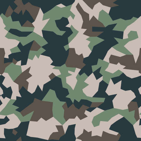 Military camouflage, repeats seamless texture. Camo geometric pattern for Army Clothing. Green, brown color, fabric hunting. Vector illustration.