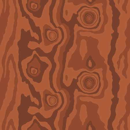 Brown red wooden surface with fiber and grain. Natural wood texture, seamless background. Vector illustration