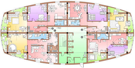 Typical floor plan in top view. Standard set of furniture icons for apartment arrangement. Vector architectural plans. House planning, living room, kitchen, bathroom and bedroom view from above.