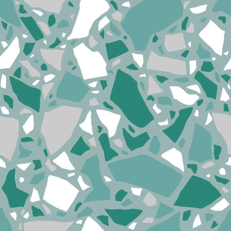 Texture of Terrazzo Floor. Tile with pebbles and stone. Abstract green mosaic, seamless pattern. Vector background. Vectores
