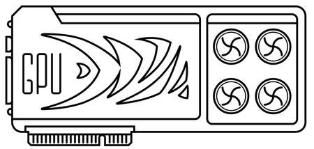 Video card thin line vector icon. GPU rendering, computer graphics card illustration