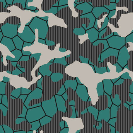 Fashionable urban camouflage with geometric elements. Stylish camo fabric for printing. Modern textiles. Vector seamless military backgro