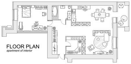 Planning of the apartment with arrangement furniture. Architectural drawing of the house (top view). Interior design floor plan from above. Vector layout Vectores