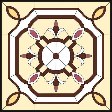 Abstract Flower in square frame, geometric, window on the ceiling in square frame, symmetric composition, vector illustrations in yellow stained glass window Vectores