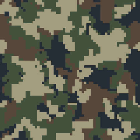 Digital camo, seamless camouflage pattern. Military camouflage texture. Green, brown colors. Soldier camouflage. Vector fabric textile print design.