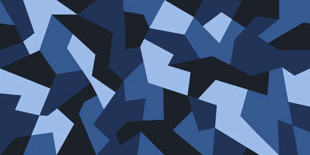 Geometric camouflage design in navy blue colors. Camo pattern seamless texture. Creative background for textile prints. Stock vector 일러스트