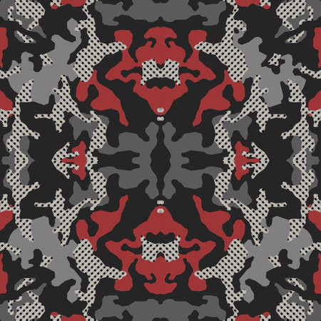 Abstract symmetrical camouflage pattern, Psychedelic camo background. Embroidery background. Bandanna, shawl, design for textile, fabric print. Vector