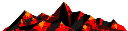 Abstract  of mountain ranges, volcano with lava landscape, red and black tones. Vector background
