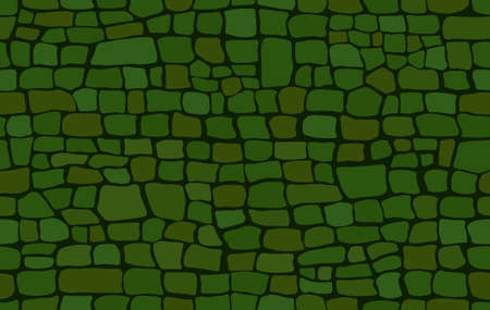 Crocodile skin pattern. Drawing on the surface reptile skin. Green croc leather texture. Animal background for printing. Vector wallpaper