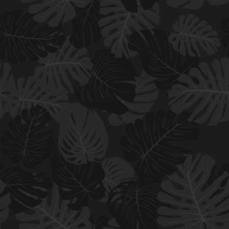 Camouflage monstera leaves, seamless tropical pattern. Black branches and foliage. Exotic camo background. Monochrome texture wallpaper. Fabric print, textile design. Vector 일러스트