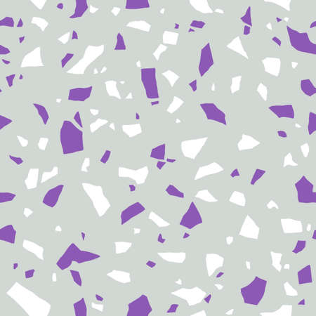 Terrazzo seamless pattern. Surface texture of decorative granite tiles. Stone colored mosaic Vector background.