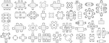 Set of kitchen and office tables for the interior layout of a restaurant, kitchen, apartment or office space. Top view of furniture icons for floor plans. Vector