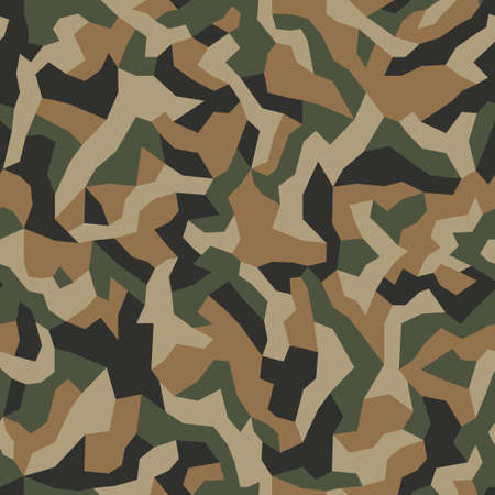 Geometric camo seamless pattern. Abstract military or hunting camouflage background. Brown, green color. Vector.